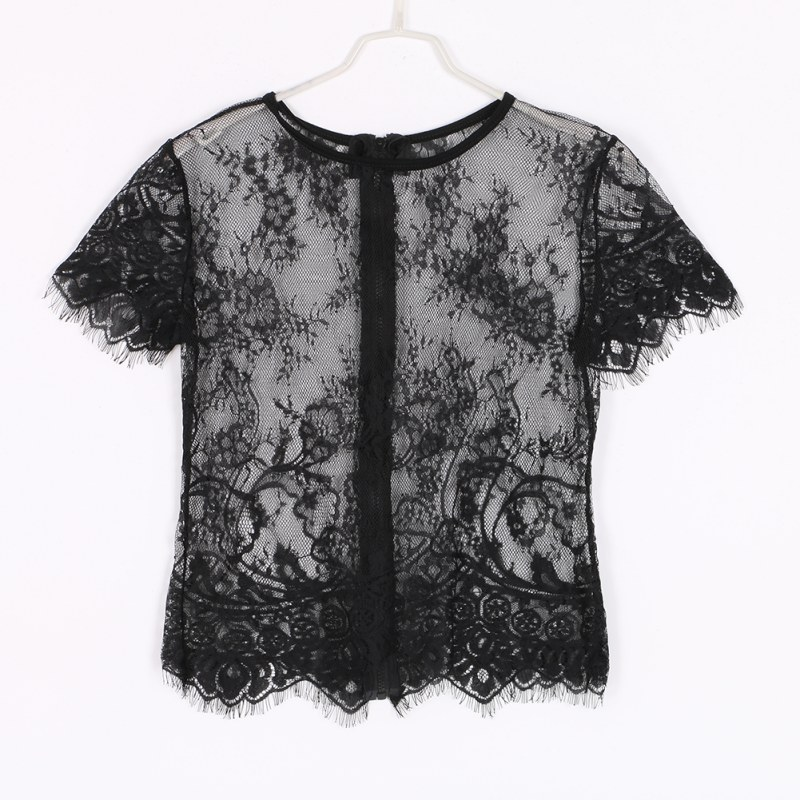 miniature 15 - Women Short Sleeve Embroidery Floral Lace Crochet Tee T-shirt Top Blouse White