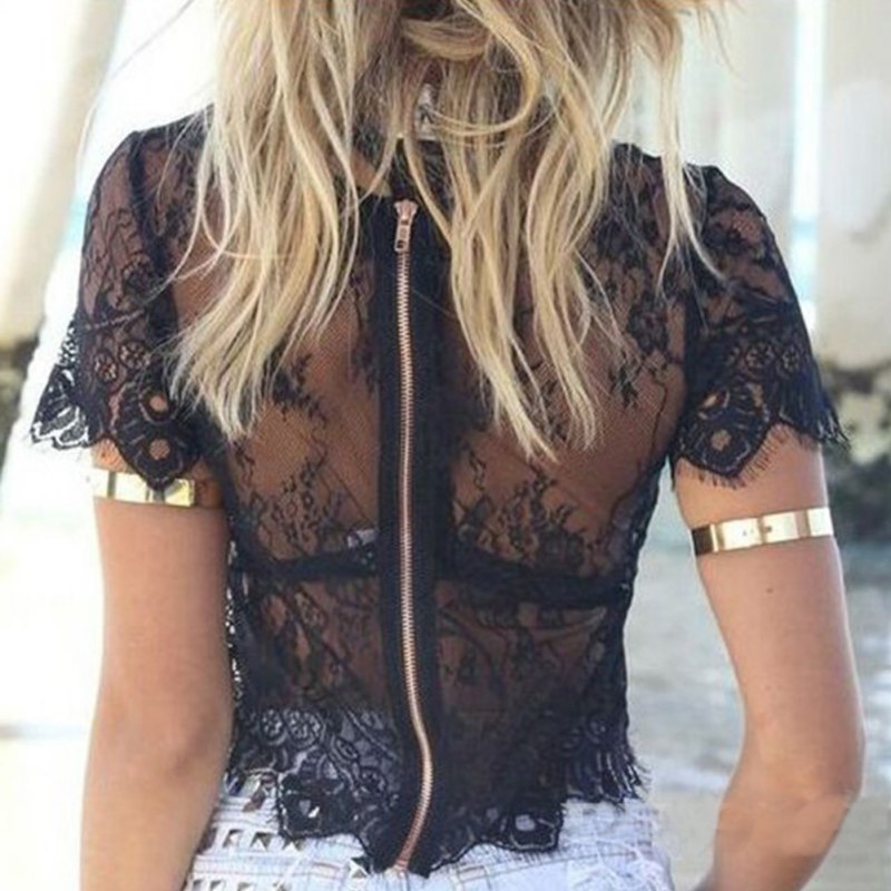 miniature 16 - Women Short Sleeve Embroidery Floral Lace Crochet Tee T-shirt Top Blouse White