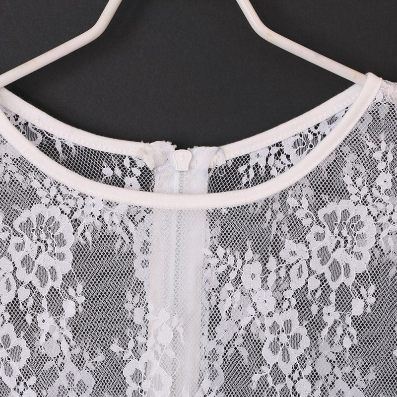 miniature 18 - Women Short Sleeve Embroidery Floral Lace Crochet Tee T-shirt Top Blouse White
