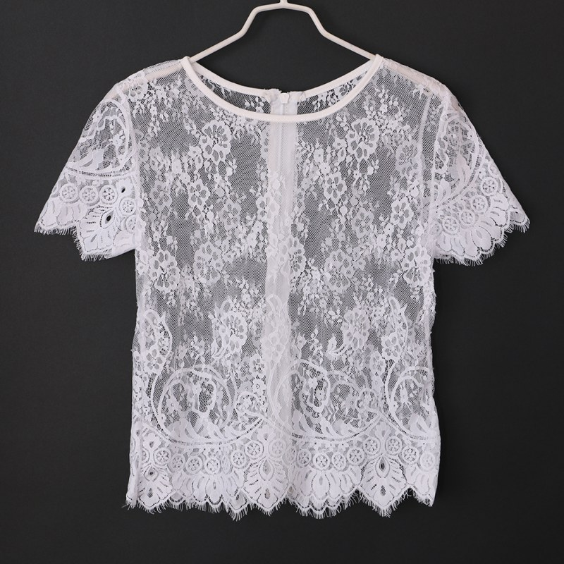 miniature 21 - Women Short Sleeve Embroidery Floral Lace Crochet Tee T-shirt Top Blouse White